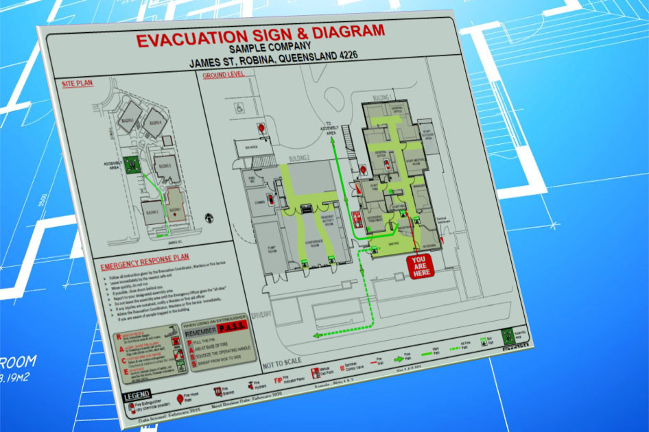 evacuation diagram and sign