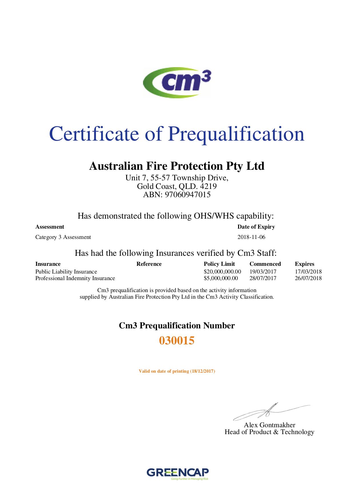 CM3 certificate