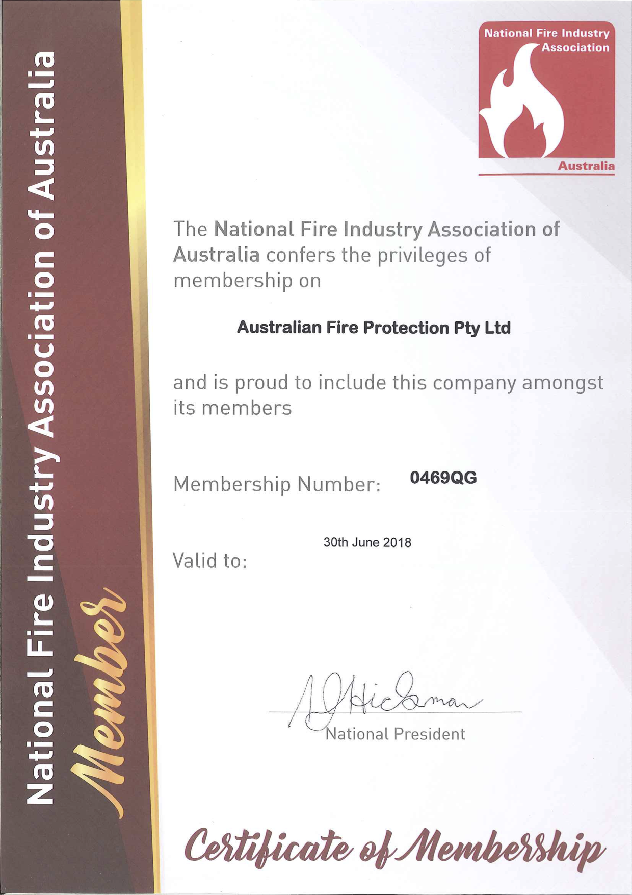 National Fire Industry Association Certificate