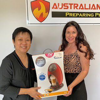 Australian fire protection team winning a coffee maker